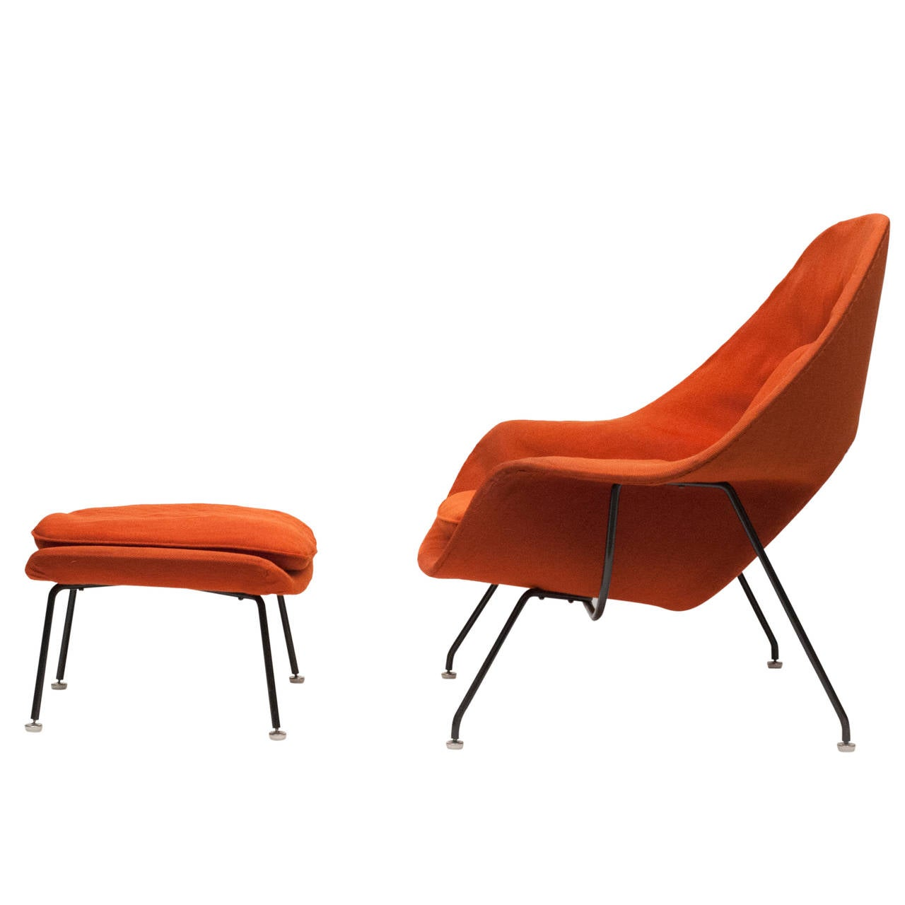 Knoll womb chair - Early Womb Chair With Black Frame And Ottoman By Eero Saarinen For Knoll 1950s 1