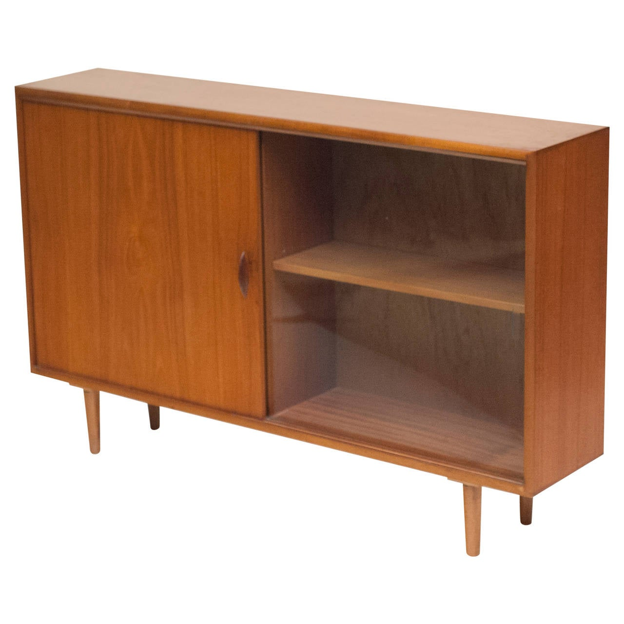 Danish Low Teak Bookcase Cabinet With Sliding Glass Door 1