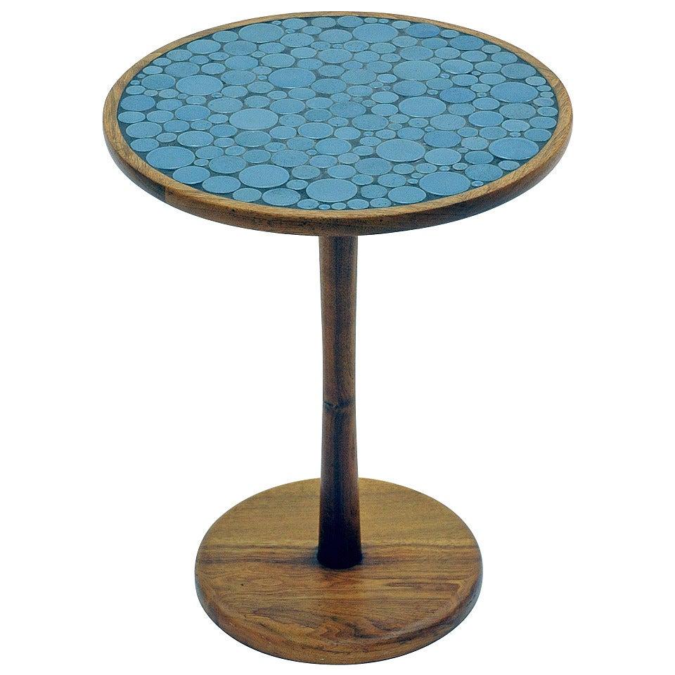 Blue Ceramic Tile Top Side Table By Gordon And Jane Martz 1