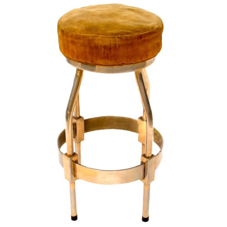 1960s French Nickel And Brass Barstool At 1stdibs