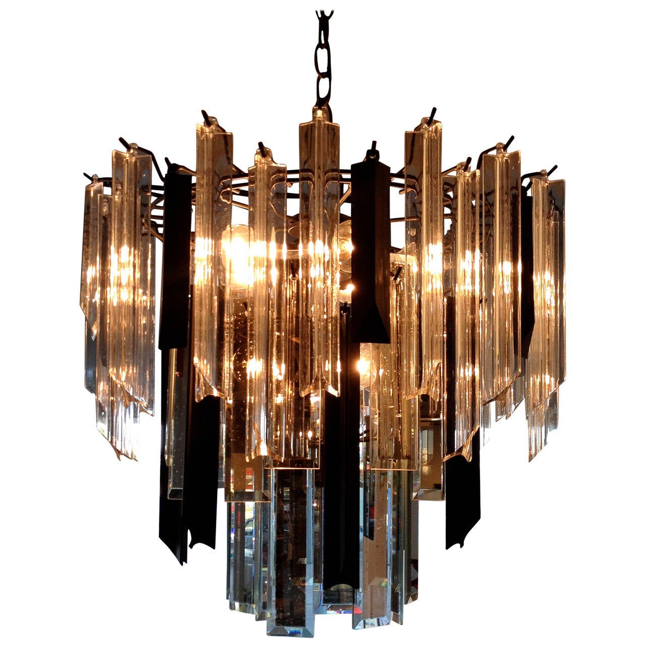 mid century modern black and clear lucite and mirrored