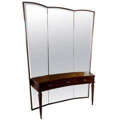 Italian Mid-Century Modern Three-Panel Mirror with Console