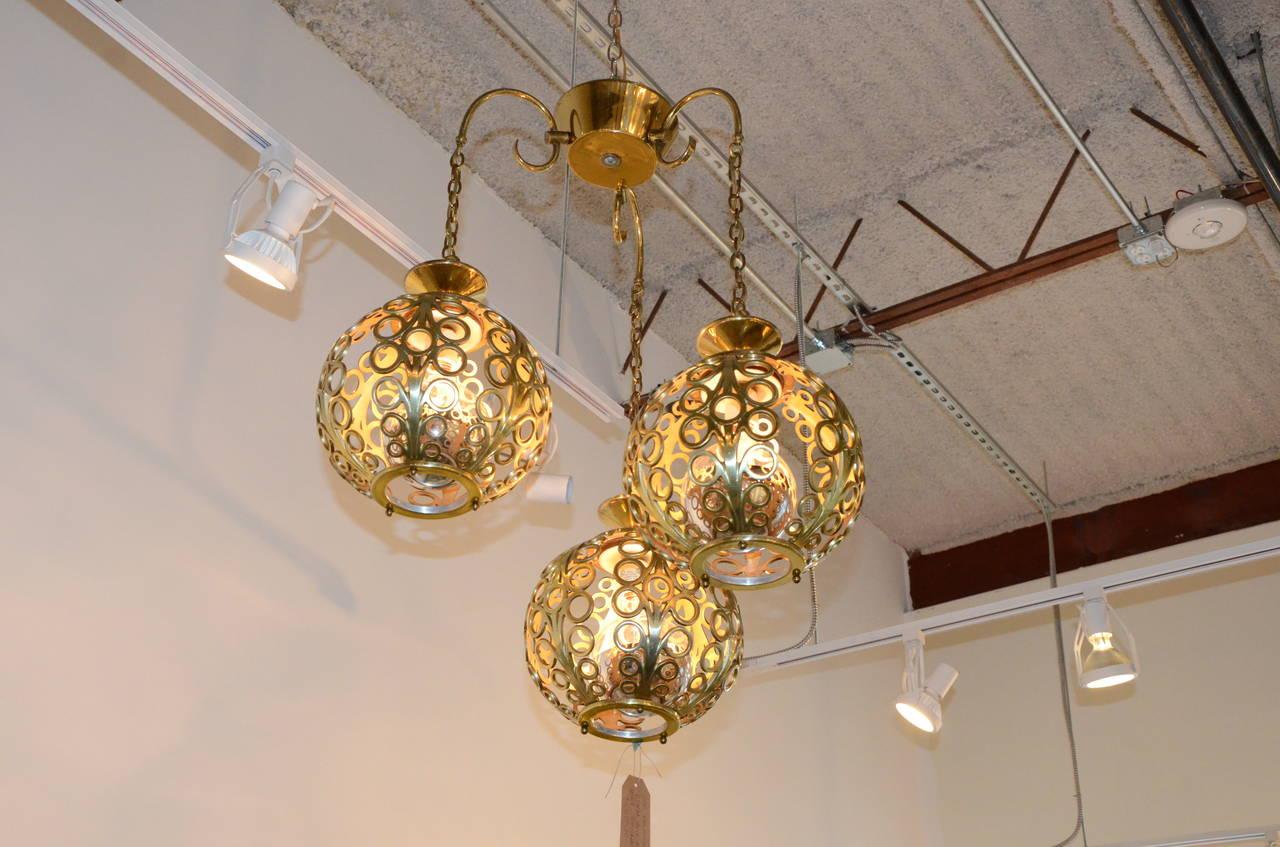 Mid-Century Modern Moroccan Filigree Three Globe Brass Chandelier ...