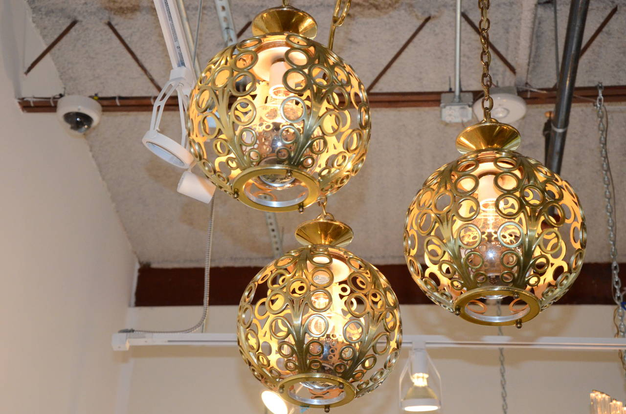 American Mid Century Modern Moroccan Filigree Three Globe Brass Chandelier For Sale