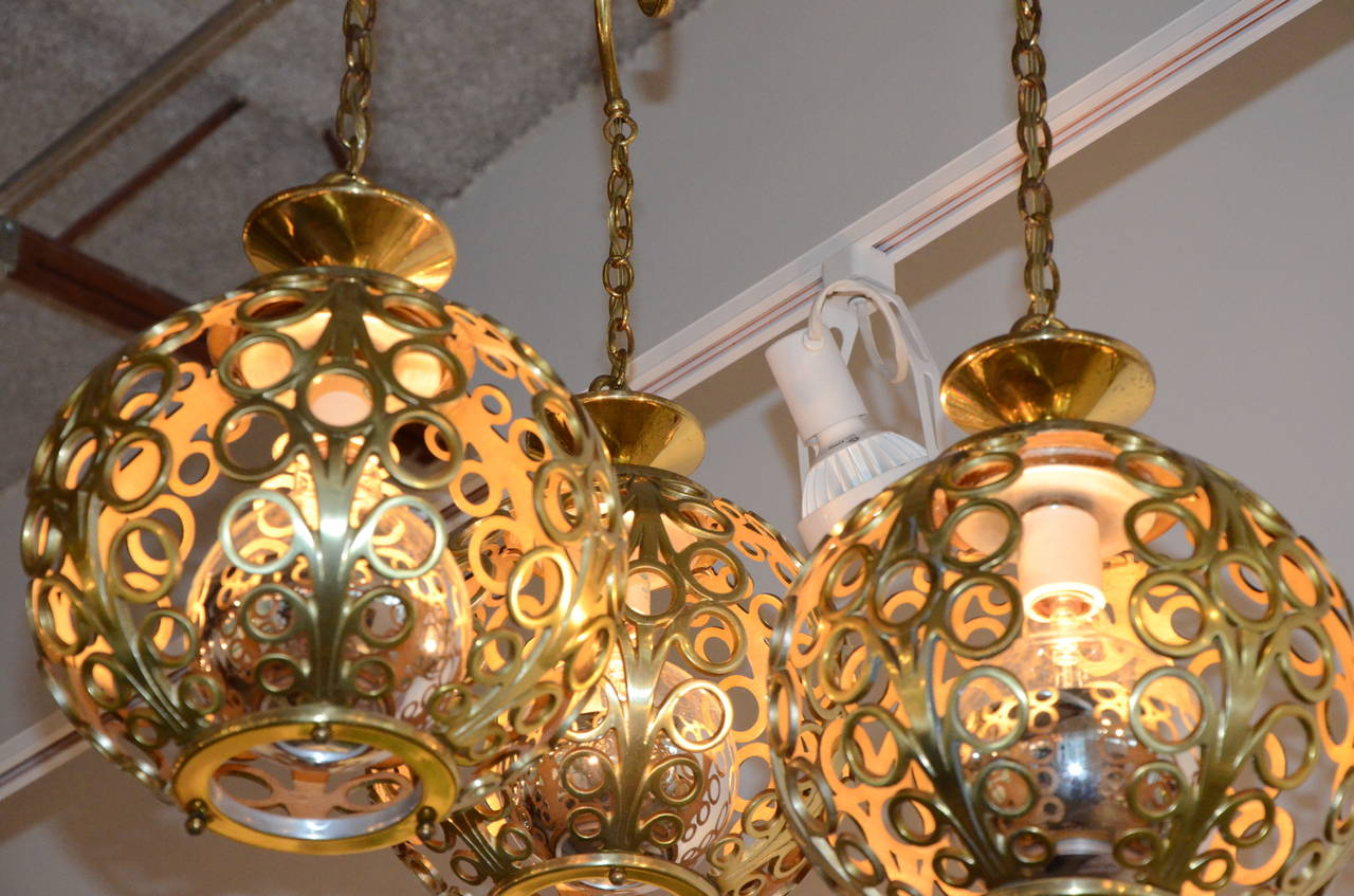 Mid century modern moroccan filigree three globe brass for Mid century modern globe pendant light