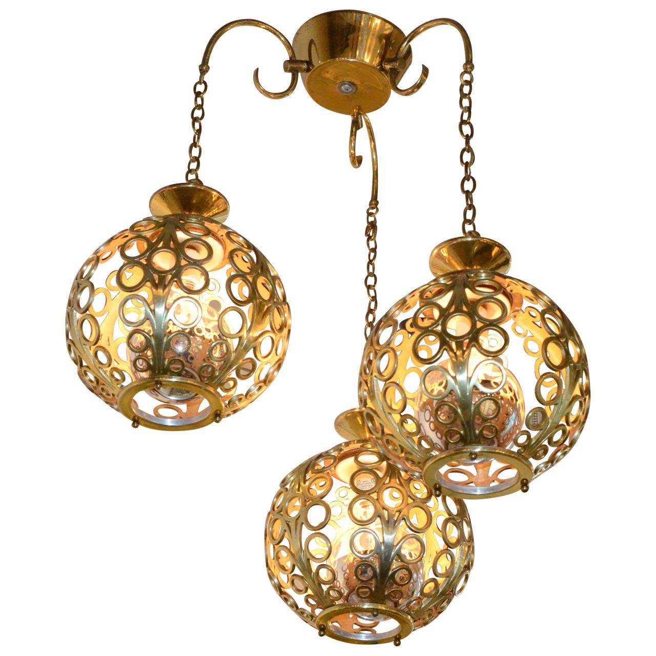 Mid-Century Modern Moroccan Filigree Three Globe Brass Chandelier at 1stdibs