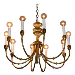 Mid-Century Modern Brass Chandelier in the Manner of Tommi Parzinger