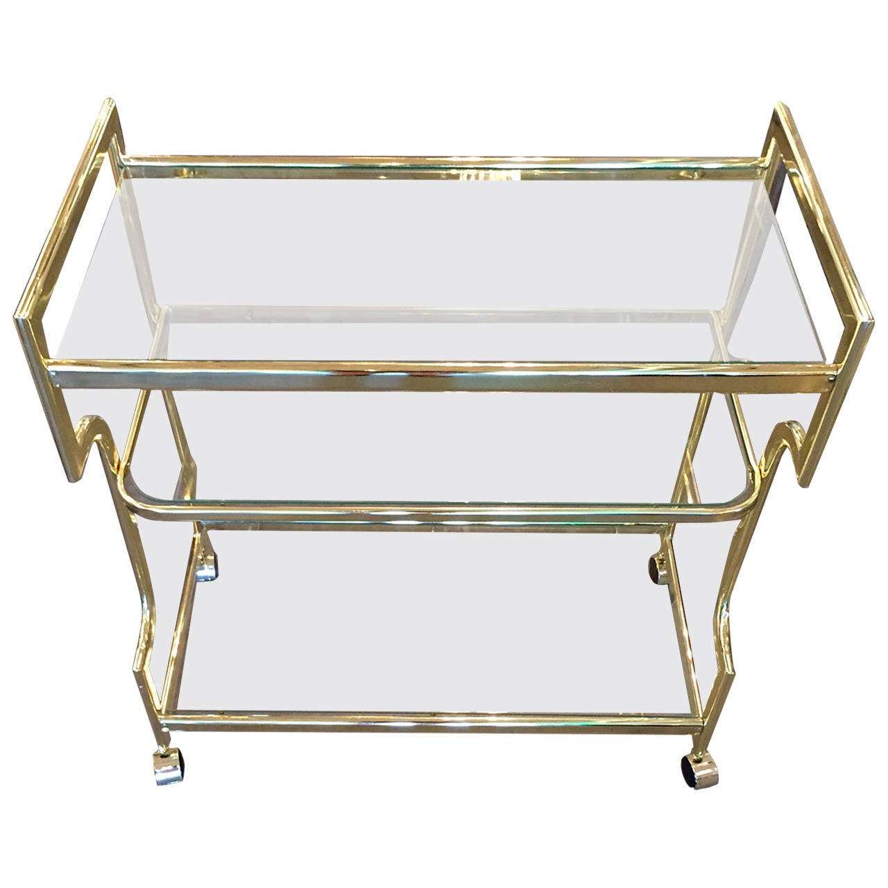 Hollywood Regency Three Tier Glass And Gold Tone Metal Bar