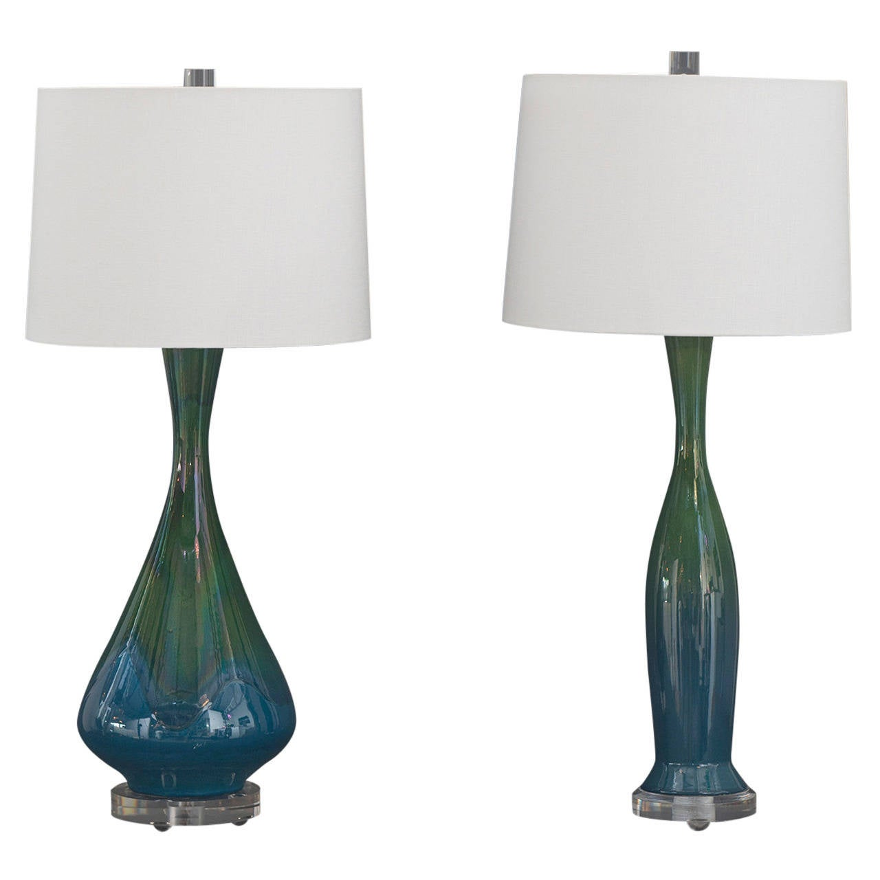 pair of blue and green drip glaze ceramic and lucite base table lamps. Black Bedroom Furniture Sets. Home Design Ideas