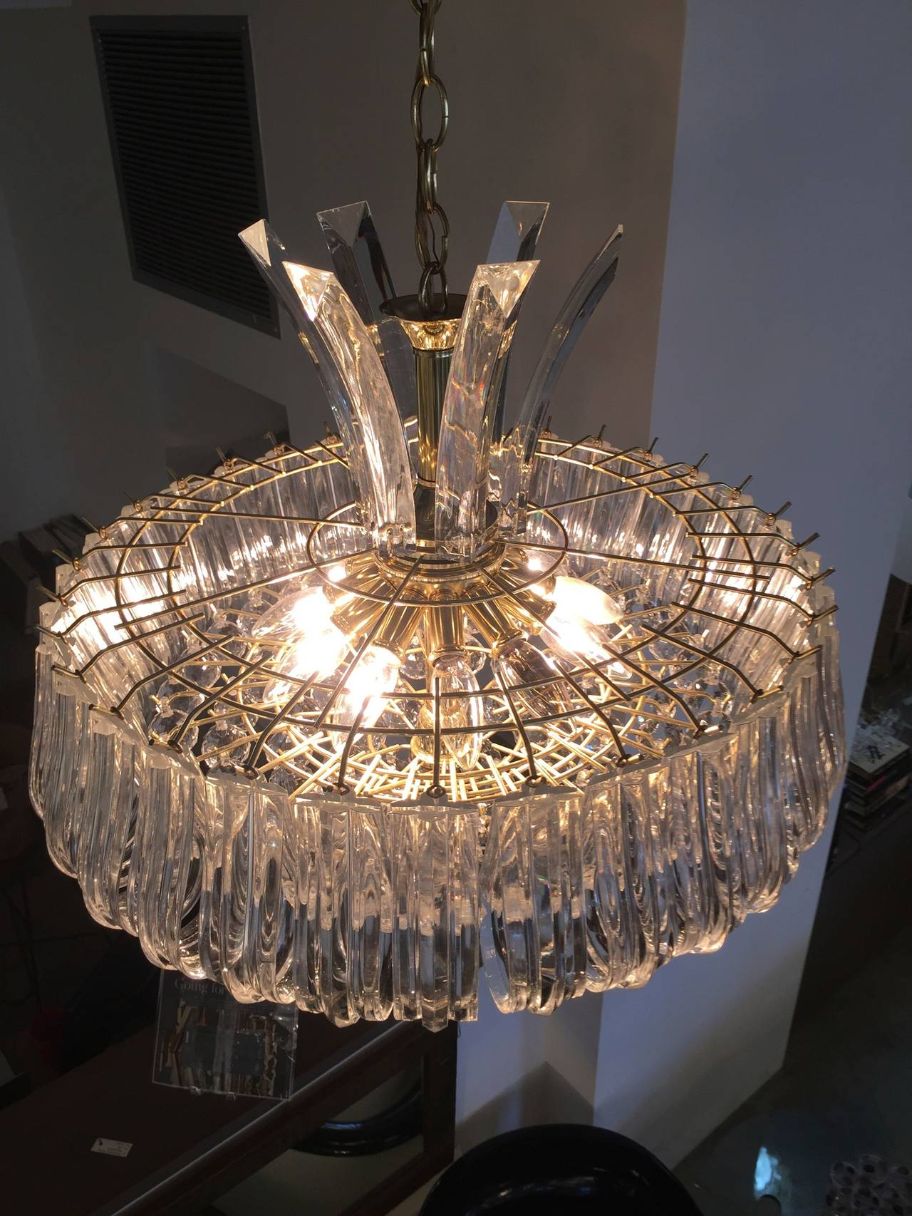 Mid century modern triarch lucite and brass chandelier for sale at mid century modern triarch lucite and brass chandelier for sale at 1stdibs arubaitofo Gallery