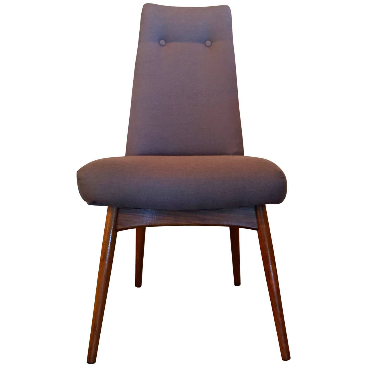 American Mid Century Modern Adrian Pearsall S/6 Walnut & Linen Dining Chairs For Sale
