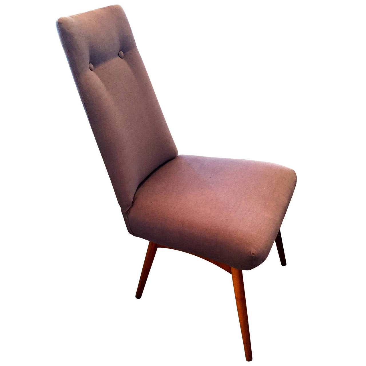Mid-Century Modern Mid Century Modern Adrian Pearsall S/6 Walnut & Linen Dining Chairs For Sale