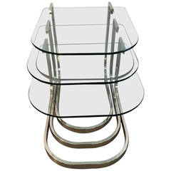Mid Century Modern Design Institute America Chrome & Glass S/3 Nesting Tables