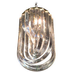 Large Lucite Ribbon Chandeliers