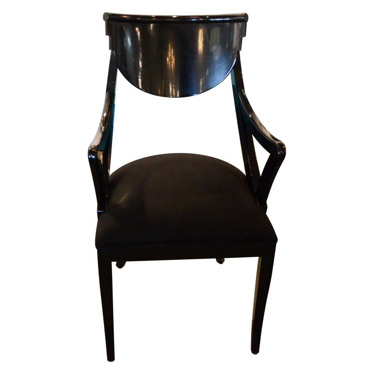 Set of six black lacquered ello dining chairs at 1stdibs for Black dining sets with 6 chairs