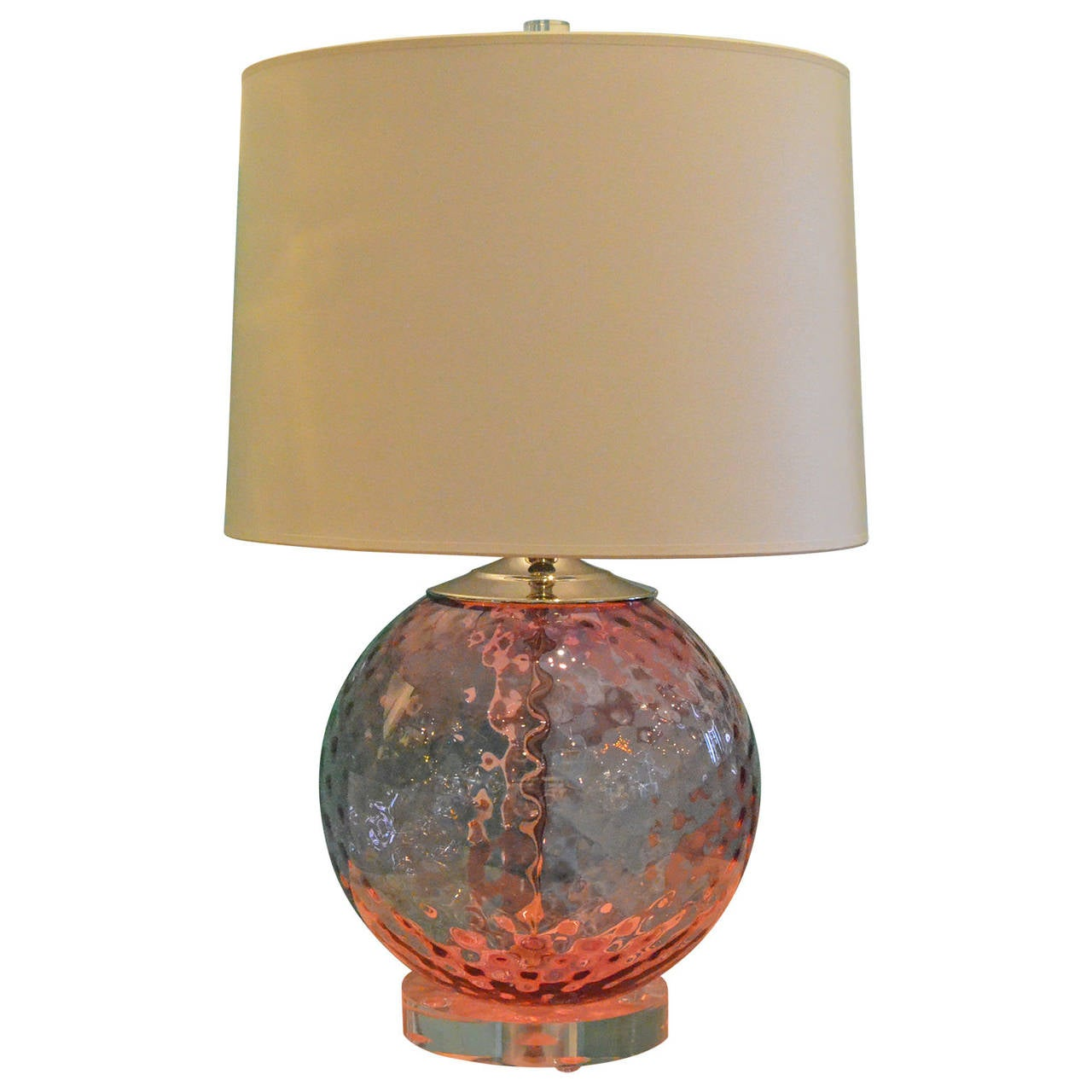 hot pink murano glass and lucite base table lamp for sale. Black Bedroom Furniture Sets. Home Design Ideas