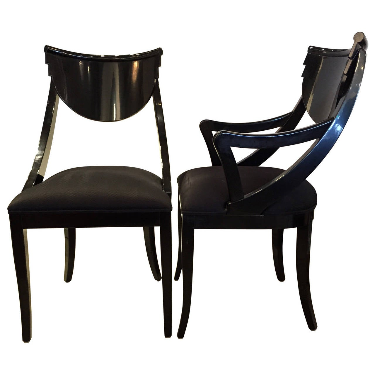 Design Lacquered Furniture set of six black lacquered ello dining chairs at 1stdibs 3