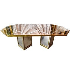 Mid Century Modern Italian Romeo Rega Brass, Chrome & Mirror Dining Table / Desk