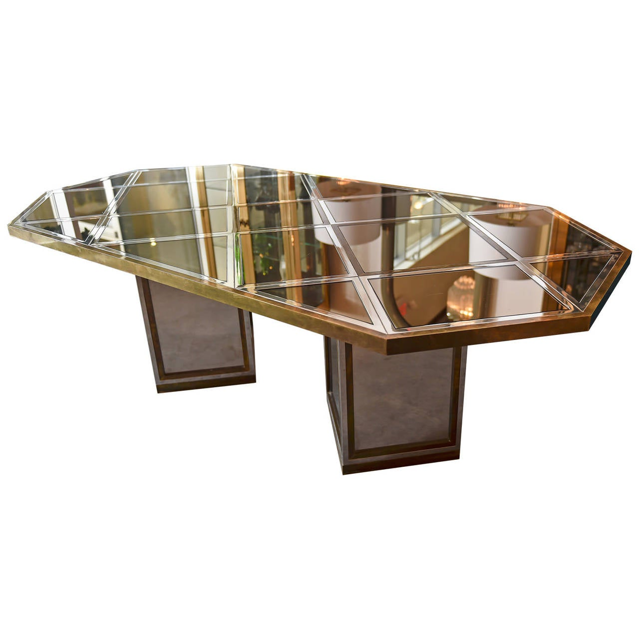 Late 20th Century Romeo Rega Brass, Chrome & Cut Glass Mirror Harlequin Style Dining Table / Desk For Sale