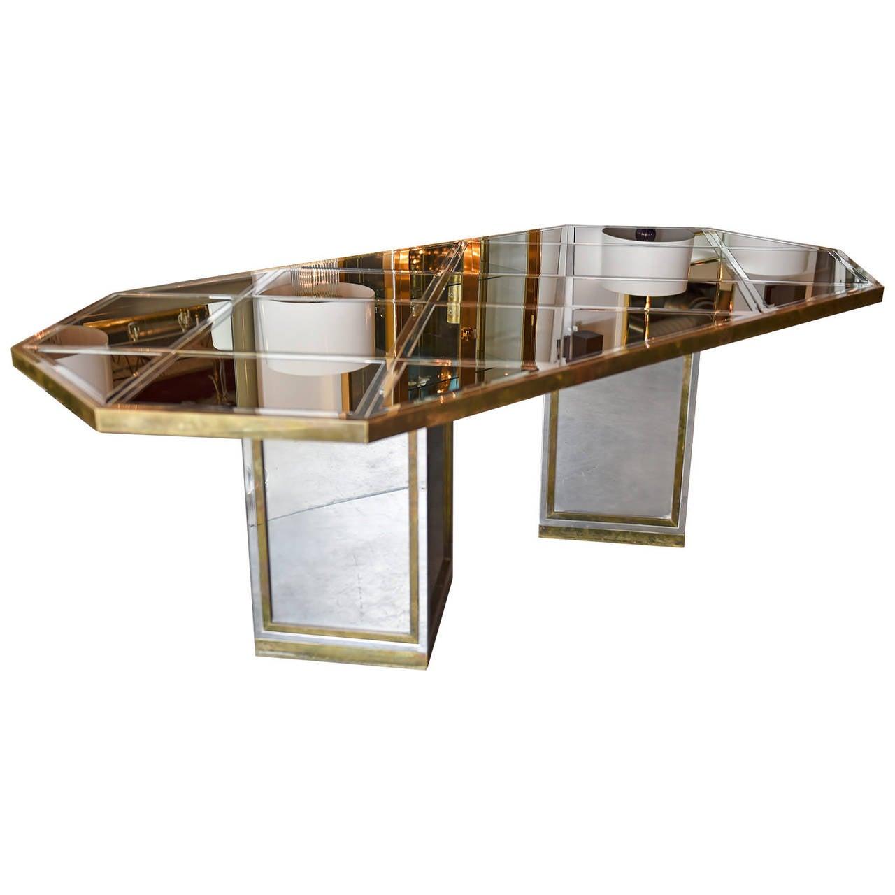 Italian Romeo Rega Brass, Chrome & Cut Glass Mirror Harlequin Style Dining Table / Desk For Sale