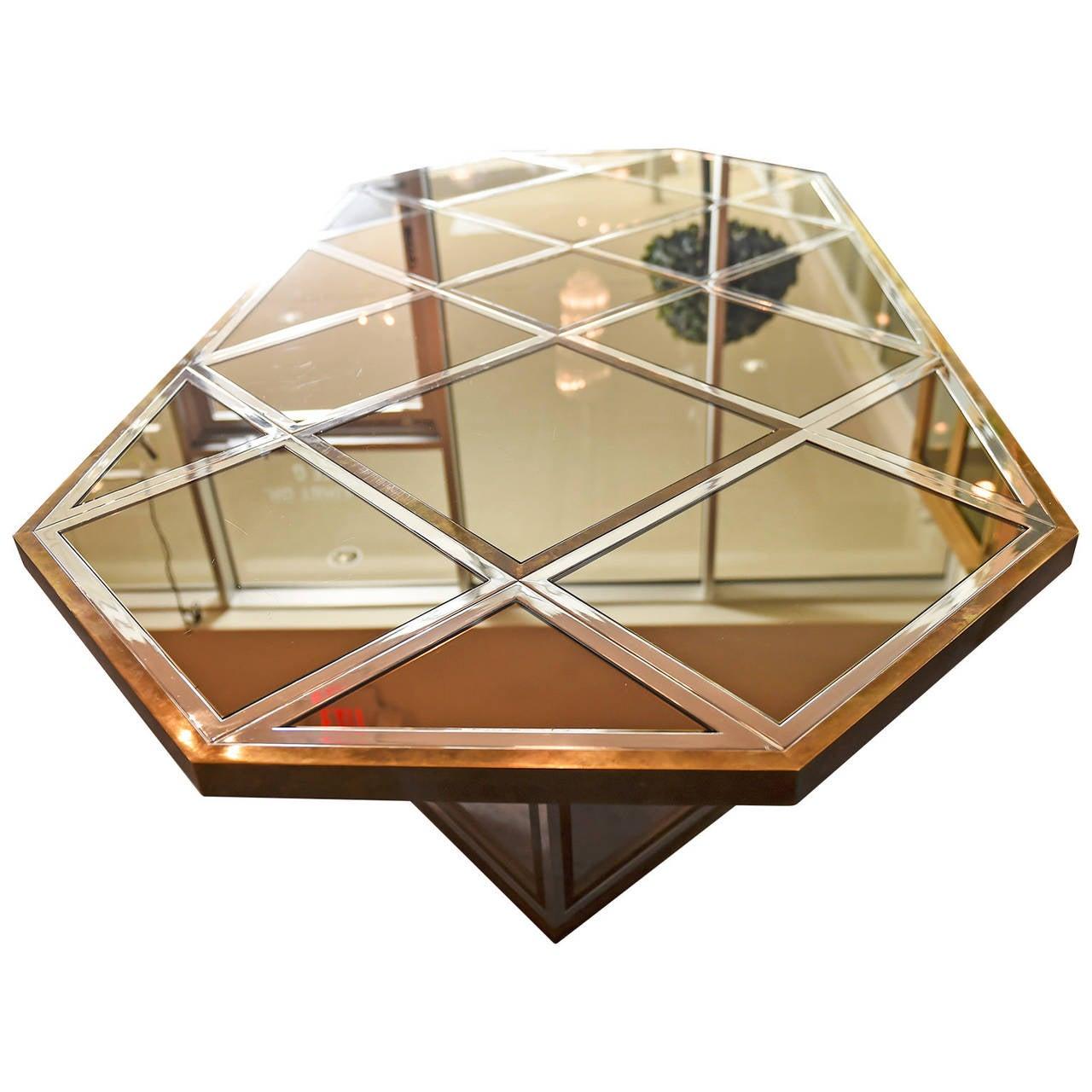 Romeo Rega Brass, Chrome & Cut Glass Mirror Harlequin Style Dining Table / Desk For Sale 1