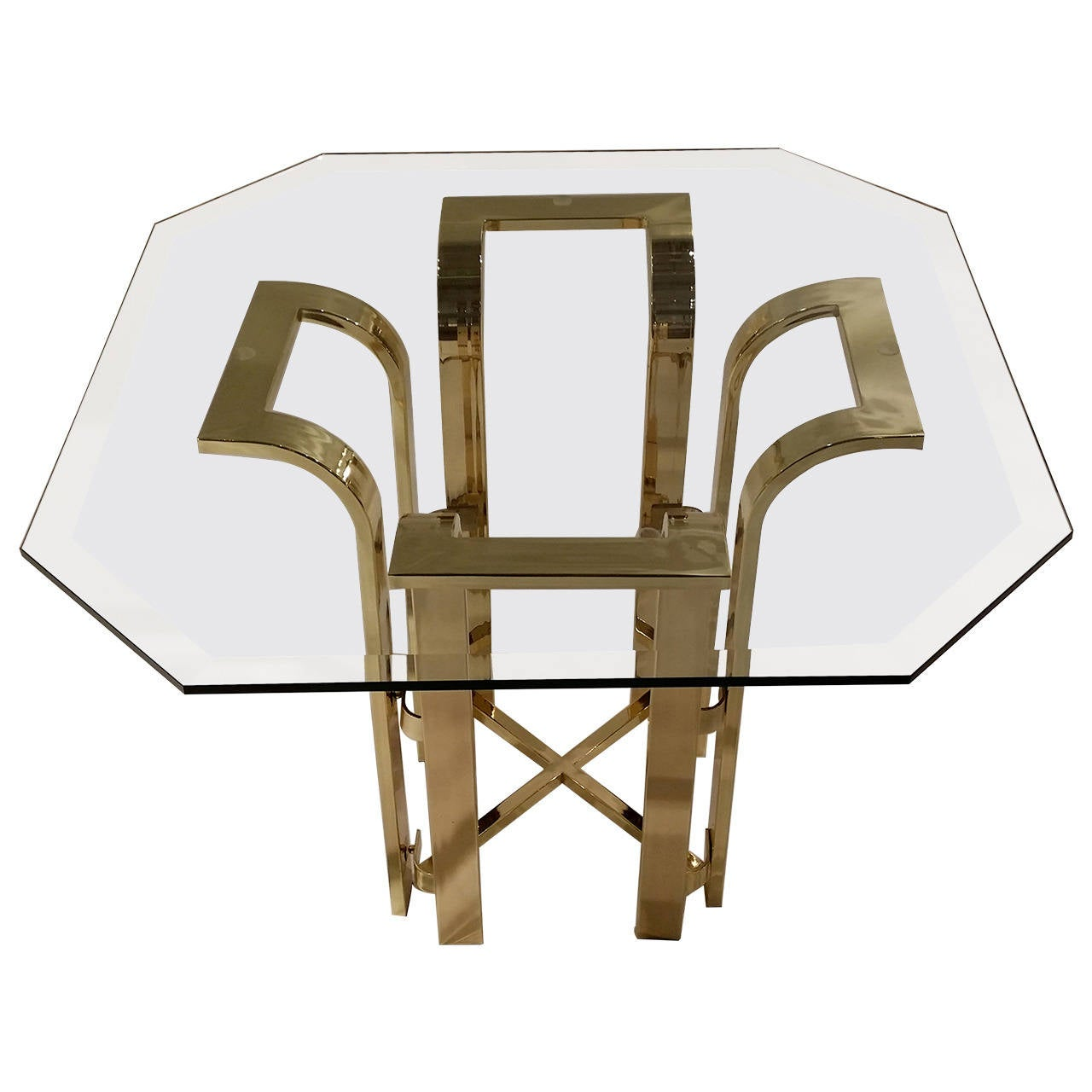 Mid Century Modern Tulip Form Glass and Gold Tone Metal Side Table