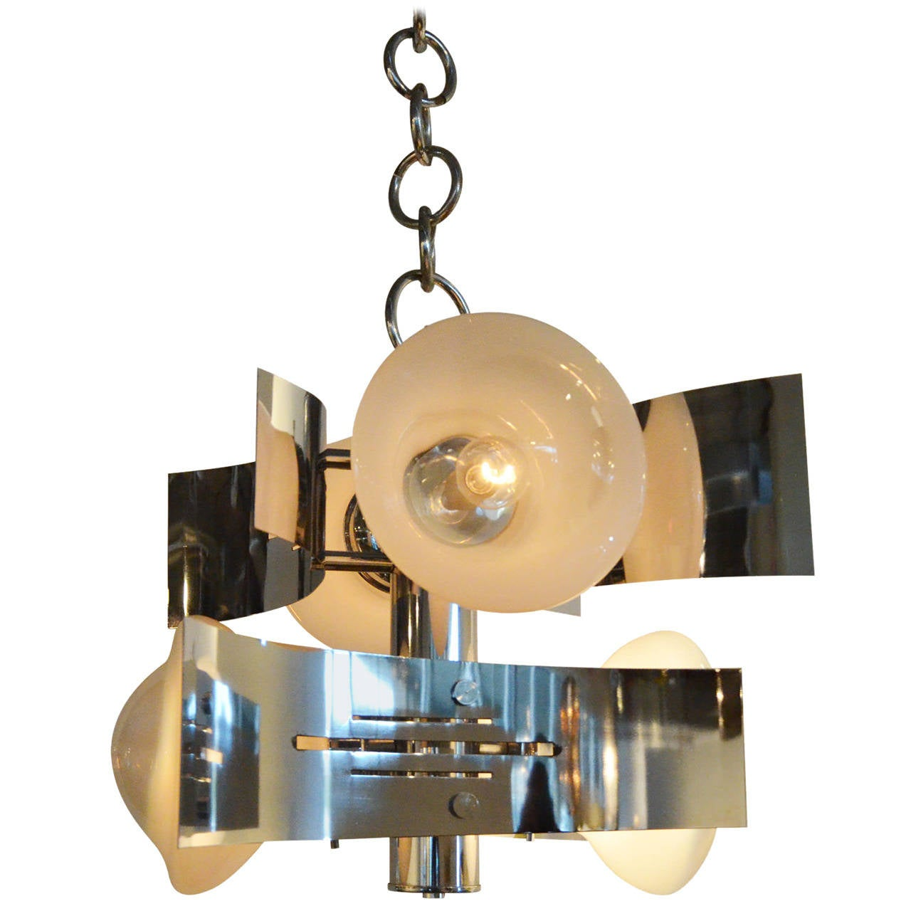 Italian Mid Century Modern Curved Chrome Chandelier For