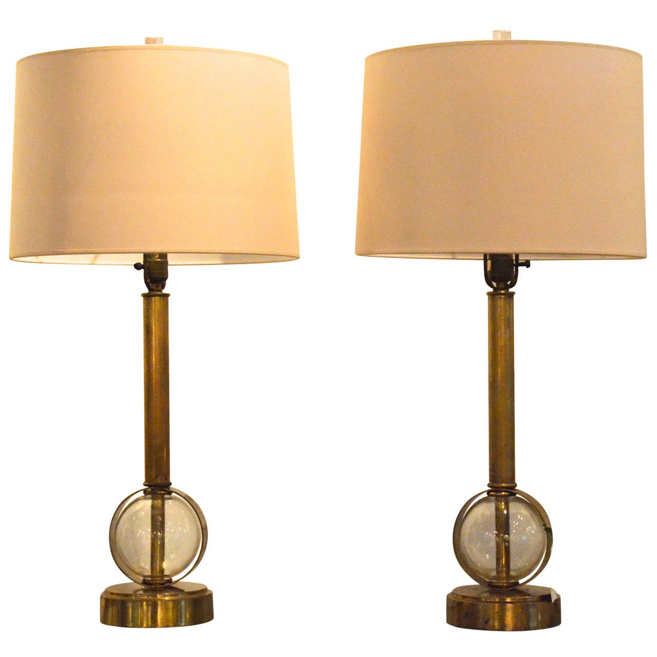 this pair of glass globe and brass table lamps is no longer available. Black Bedroom Furniture Sets. Home Design Ideas
