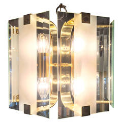 Mid Century Modern Frosted Glass & Brass Chandelier by Fredrick Ramond