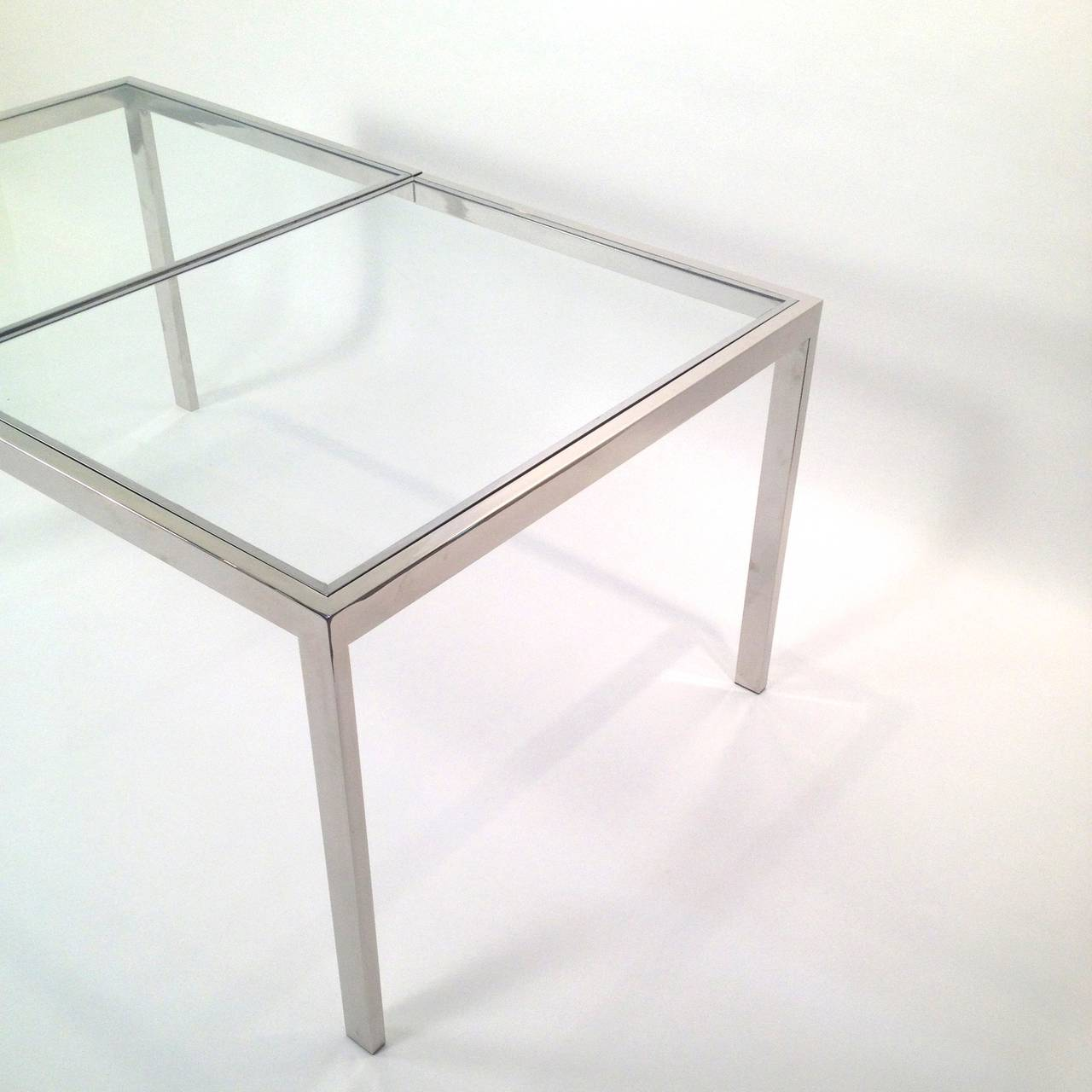 Milo baughman chrome and glass dining table at 1stdibs for Glass dining table