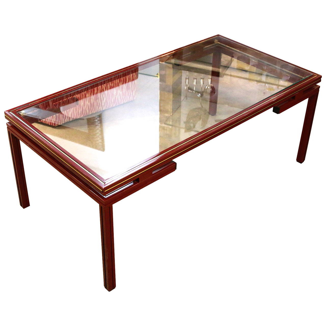 Pierre Vandel Lacquered Red With Gold Trim Coffee Table At 1stdibs