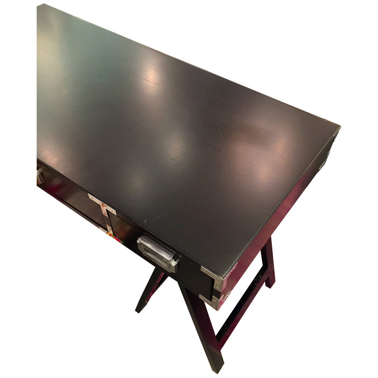 American Mid Century Modern Black Lacquer with Chrome & Brass Hardware Campaign Desk For Sale