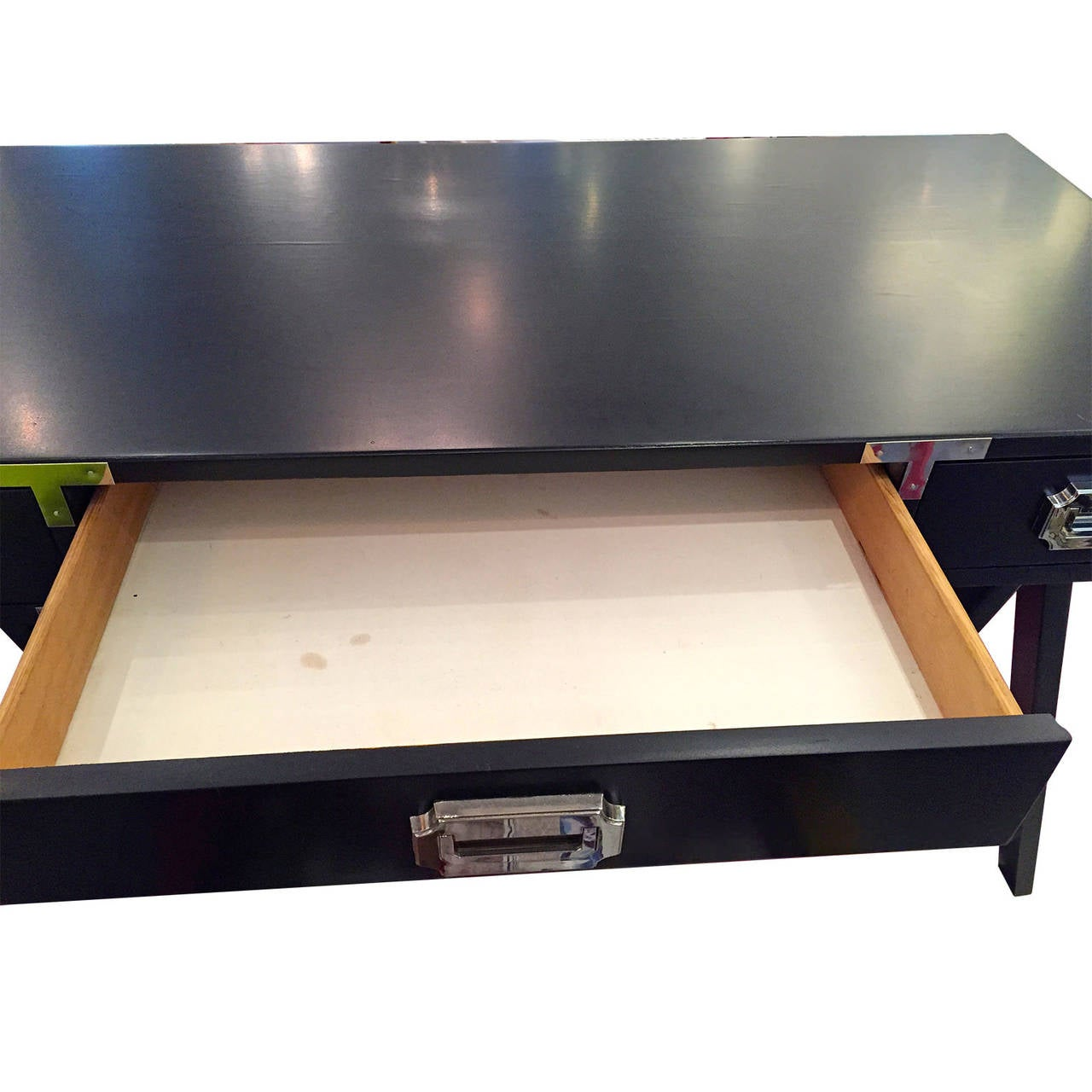 Polished Mid Century Modern Black Lacquer with Chrome & Brass Hardware Campaign Desk For Sale