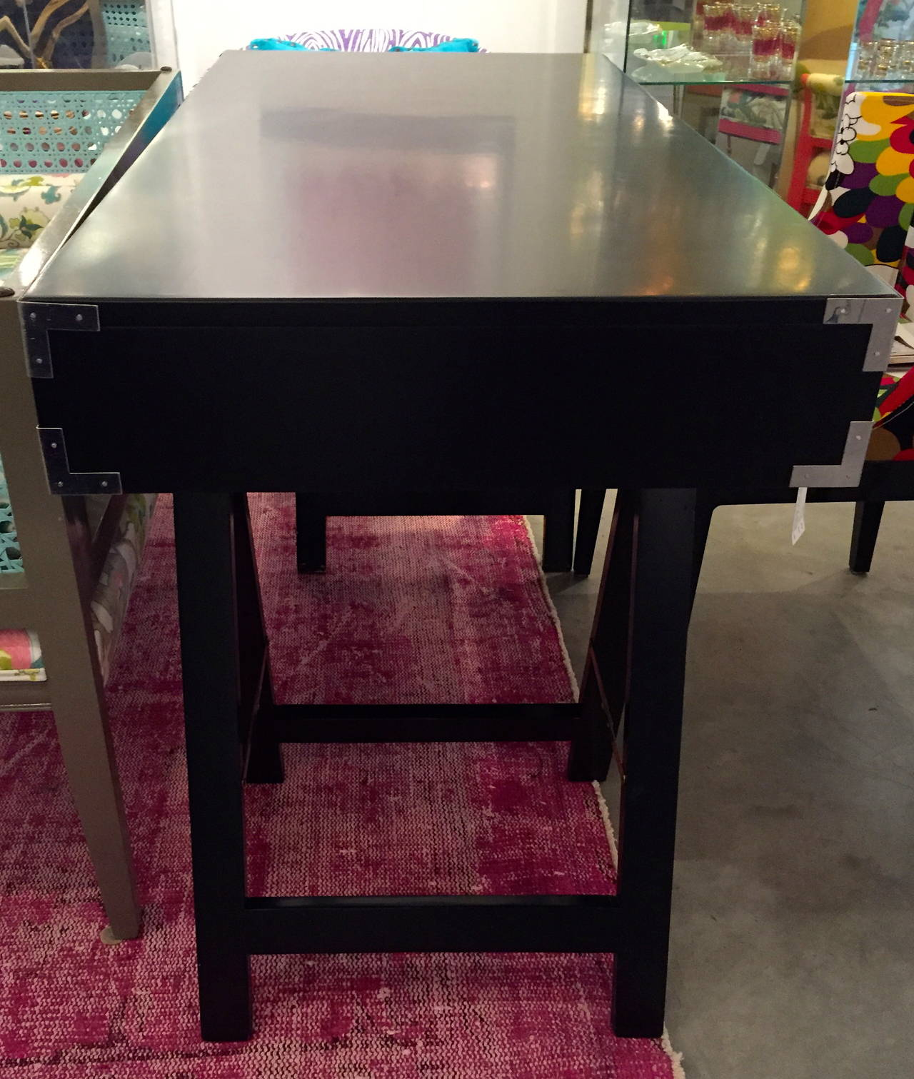 20th Century Mid Century Modern Black Lacquer with Chrome & Brass Hardware Campaign Desk For Sale