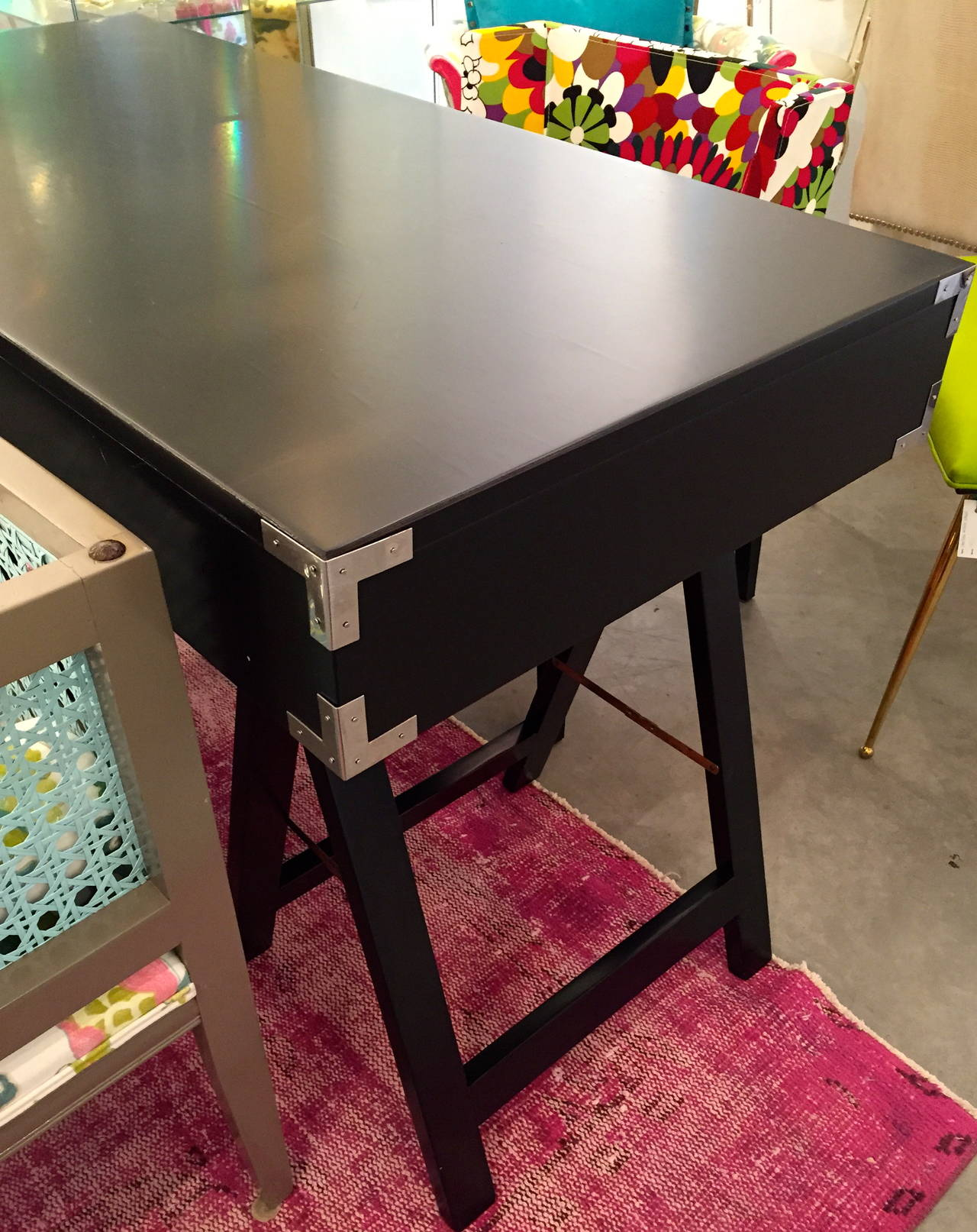 Mid Century Modern Black Lacquer with Chrome & Brass Hardware Campaign Desk In Good Condition For Sale In Houston, TX