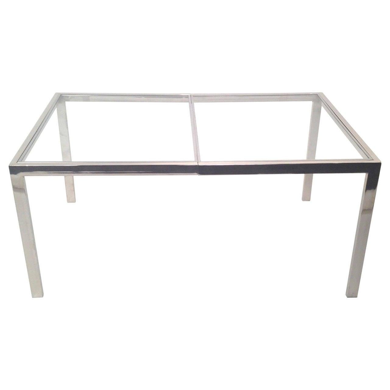 Milo baughman chrome and glass dining table for Glass and chrome dining table