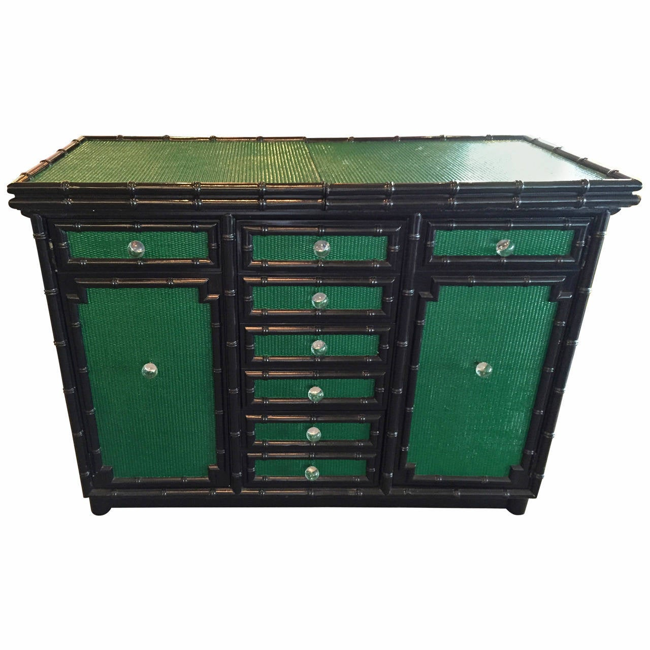 Lacquered in Emerald Green and Black Bamboo Dry Bar on Wheels For Sale