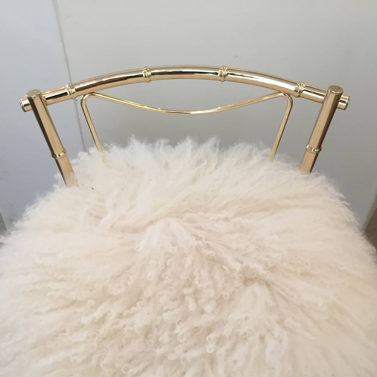 Vintage Mongolian Sheepskin and Brass Bamboo Style Vanity Stool at ...