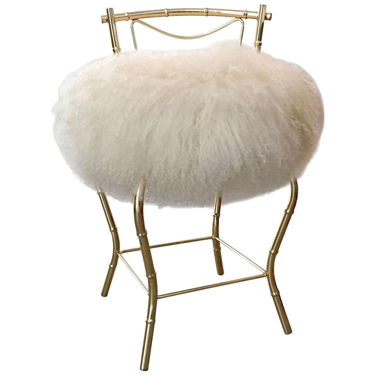 vanity chair. Vintage Mongolian Sheepskin and Brass Bamboo Style Vanity Stool 1 at