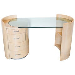 Jay Spectre Blonde Veneered Cerused Oak Eclipse Desk