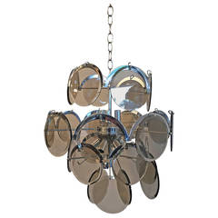 Vistosi Italian Mid-Century Modern Smoked Glass Beveled Disc & Chrome Chandelier