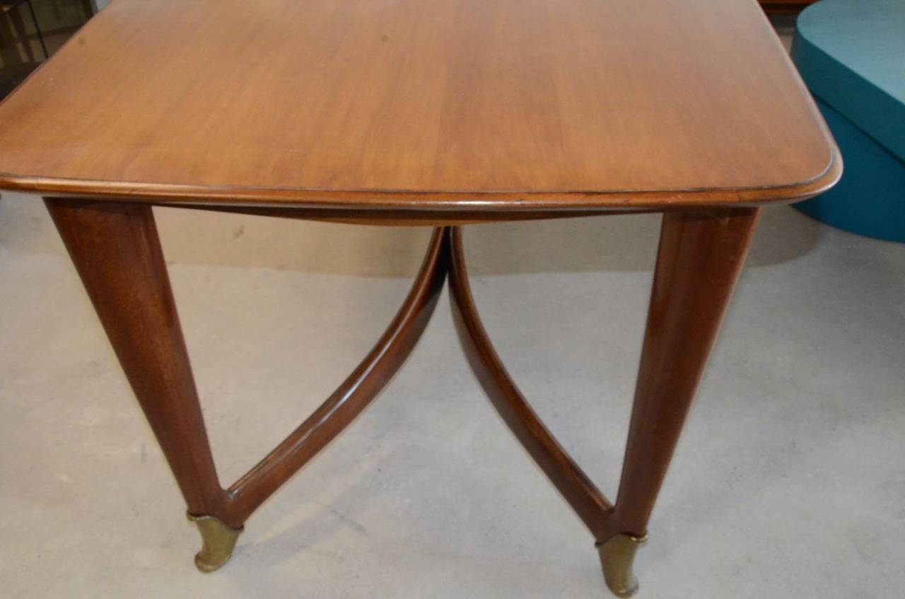 Mid-Century Modern Paolo Buffa Italian Walnut Dining Table with Brass Accents For Sale 2