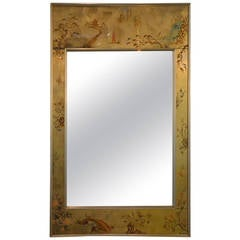 Labarge Chinoiserie Hand-Painted Mirror