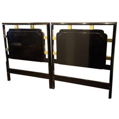 Pair of Hollywood Regency 2 Twin or 1 King Gold and lacquered Black Headboards