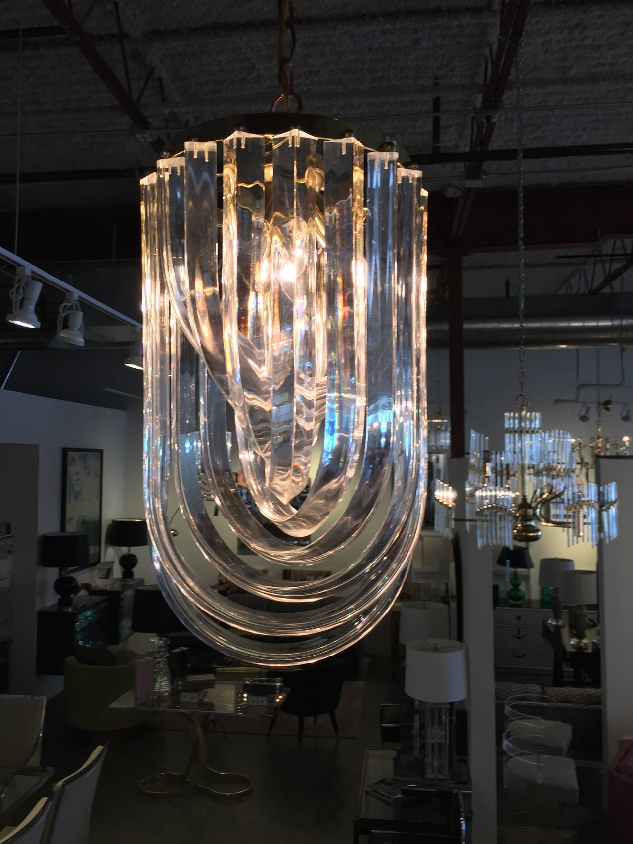 Medium Lucite Ribbon Chandelier Three Available at 1stdibs