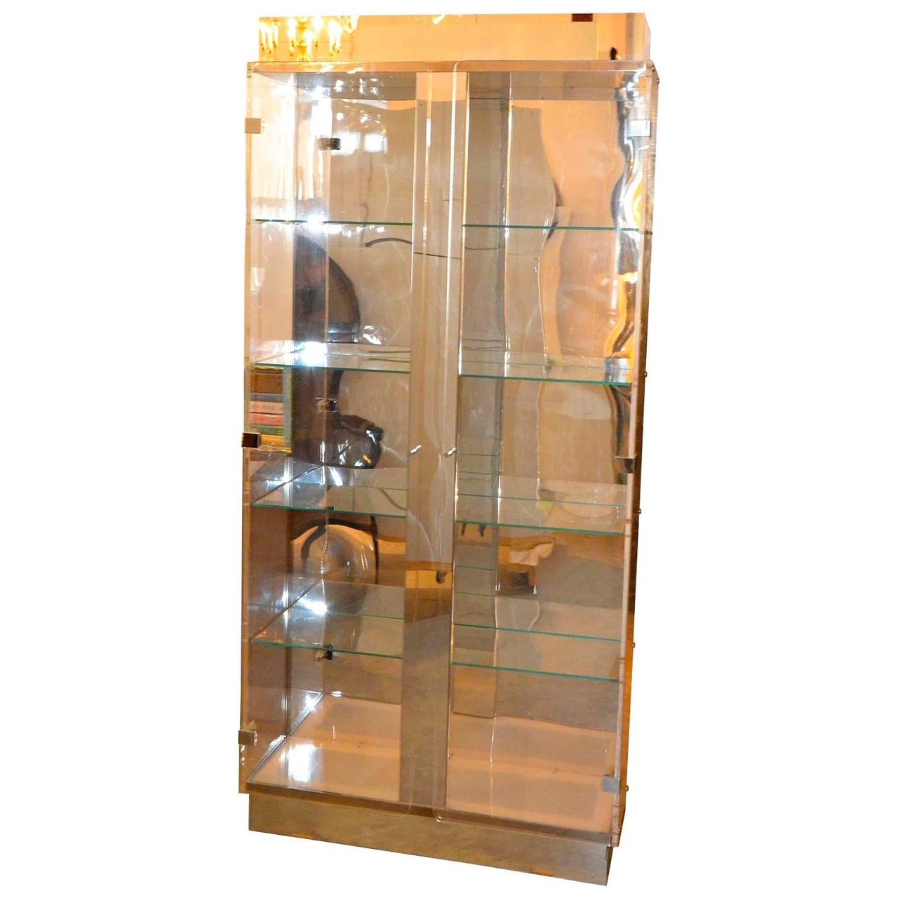 Tall lucite glass mirror and chrome cabinet with upper for Tall glass mirror