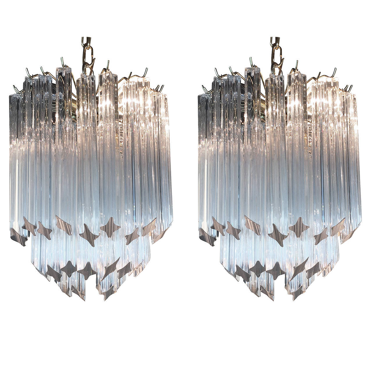 Pair of vintage small venini crystal chandeliers at 1stdibs pair of vintage small venini crystal chandeliers 1 arubaitofo Image collections