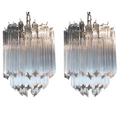 Pair of Vintage Small Venini Crystal Chandeliers