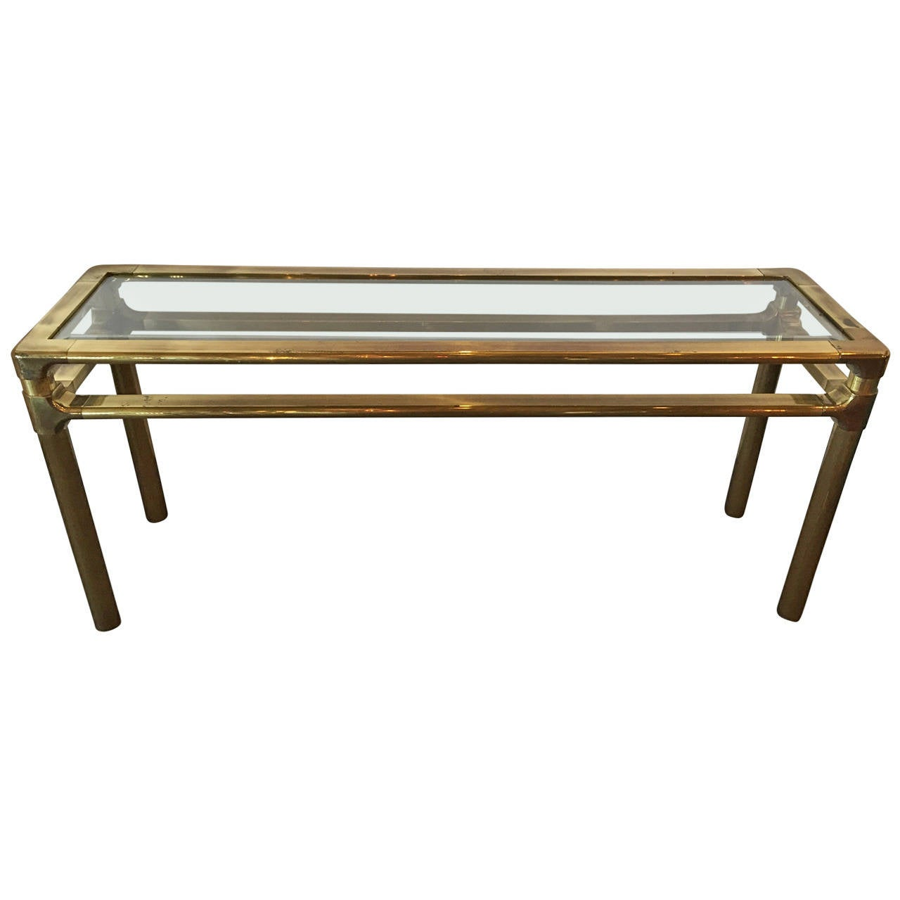 Mastercraft Brass And Glass Console For Sale At 1stdibs