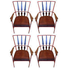 Set of Four Enameled Steel and Walnut Armchairs in the Manner of Salterini